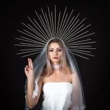 Piękno portret dziewczyna w koronie halloween Obraz Stock