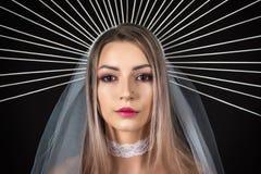Piękno portret dziewczyna w koronie halloween Zdjęcie Stock