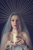 Piękno portret dziewczyna w koronie halloween Zdjęcia Royalty Free