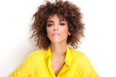 Piękno portret dziewczyna z afro Fotografia Stock