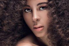 Piękno portret dziewczyna z afro Obraz Royalty Free