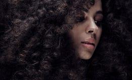 Piękno portret dziewczyna z afro Zdjęcia Stock