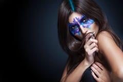 Piękno portret dziewczyna z Rorschach testem na jej twarzy Fotografia Royalty Free