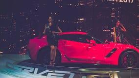 Piękno Wzorcowy i Czerwony Chevrolet korwety samochód na pokazie przy Wietnam motorowym przedstawieniem 2017 Obraz Stock