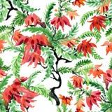 Piękny akwareli lata ogródu kwitnienie Kwitnie Bezszwowego wzór Zdjęcie Stock