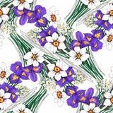 Piękny akwareli lata ogródu kwitnienie Kwitnie Bezszwowego wzór Fotografia Stock