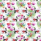 Piękny akwareli lata ogródu kwitnienie Kwitnie Bezszwowego wzór Zdjęcia Stock