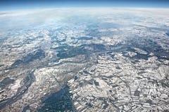 Piękny antena krajobrazu widok Widok od samolotu na zimie e zdjęcie stock
