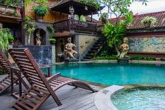Piękny basen w wygodnym hotelu w Ubud Fotografia Royalty Free
