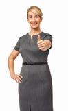 Piękny bizneswoman Pokazuje aprobata znaka Zdjęcia Royalty Free