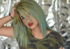 piękny blondynki dziewczyny portret zdjęcie stock
