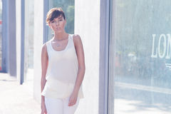 Piękny brunetka model obraz royalty free