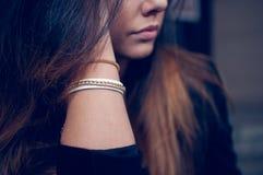 Piękny brunetka portret Obrazy Royalty Free