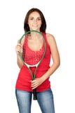 piękny brunetki dziewczyny kanta tenis Zdjęcia Royalty Free