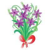 Piękny bukiet z purpurowymi kwiatami Zdjęcia Royalty Free