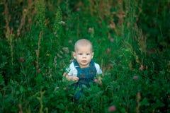 piękny dzieciaka obsiadanie w zielonej trawie w lecie Zdjęcia Stock