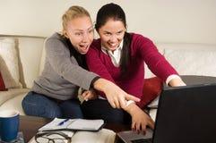 piękny dziewczyn laptopu biuro dwa Zdjęcie Royalty Free