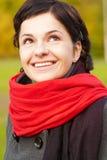piękny dziewczyny czerwieni szalik Obraz Stock