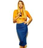 Piękny elegancki modnisia model w studiu Fotografia Royalty Free