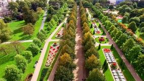 Piękny Elegancki Regent ` s parka ogródów widok z lotu ptaka w Londyn Obraz Stock