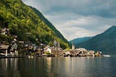 Piękny góra krajobraz Hallstatt wioska Tirol, Austri Fotografia Stock