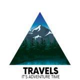 Piękny góra krajobraz z jeziorem i drzewami Noc góry Wektorowa ilustracja dla plakata lub karty Turystyka, Obrazy Stock