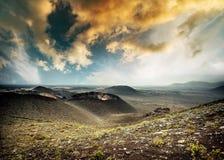 Piękny góra krajobraz z volcanoes Zdjęcia Royalty Free