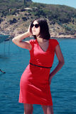 Piękny kobieta turysta. Zdjęcie Stock
