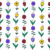 Piękny kolorowy kwiatu set, Wektorowy bezszwowy wzór Obrazy Royalty Free