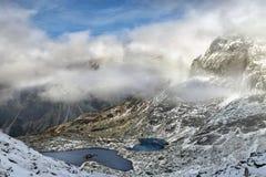 Piękny krajobraz halni jeziora w Wysokich Tatras górach Zdjęcie Stock