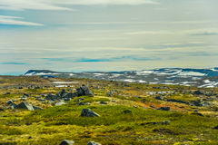 Piękny krajobraz, sceneria Norwegia i zielona sceneria, wzgórza i góra Obrazy Stock