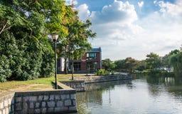 Pi?kny krajobraz Thames miasteczko w Szanghaj zdjęcia royalty free
