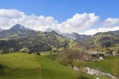 Piękny krajobraz w Szwajcaria, Gruyeres Obrazy Stock