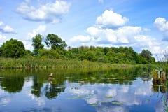 Piękny krajobraz z odbiciem na Rzecznym niebieskim niebie i chmurach Obrazy Royalty Free