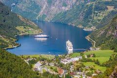 piękny krajobrazu po norwesku fjord geiranger Norway Obraz Royalty Free