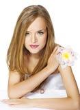 piękny kwiatu dziewczyny portret Zdjęcie Stock