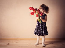 piękny kwiatu dziewczyny portret Obrazy Royalty Free