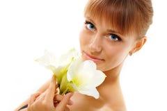 piękny kwiatu dziewczyny target1910_0_ nastoletni Zdjęcia Stock