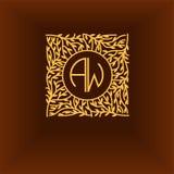 Piękny kwiecisty monograma projekt, Elegancki kreskowej sztuki logo, wektorowy szablon Zdjęcia Stock