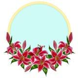 Piękny leluja kwiatu wianek w akwarela stylu Obraz Stock