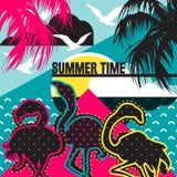 Piękny mieszkanie, kreskówka flaminga ptaki, palma, ocean sylwetki ilustracji