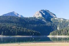 Piękny mistyczny Czarny jezioro, Durmitor obywatel Zdjęcia Royalty Free