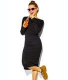 Piękny model w lecie eleganckim odziewa w studiu Obraz Royalty Free
