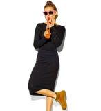 Piękny model w lecie eleganckim odziewa w studiu Fotografia Royalty Free