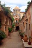 Piękny monaster Agia Triada w Crete, Grecja Zdjęcia Stock