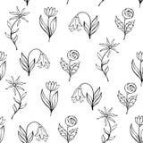 Piękny monochromatyczny kwiatu set, Wektorowy bezszwowy wzór Fotografia Stock