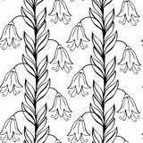 Piękny monochromatyczny kwiatu set, Wektorowy bezszwowy wzór Fotografia Royalty Free