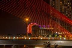 Piękny most podczas nighttime 2016 (Tranu Thi Ly most) Zdjęcie Royalty Free