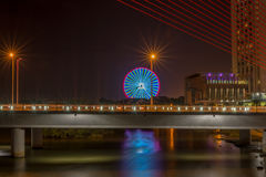 Piękny most podczas nighttime 2016 (Tranu Thi Ly most) Zdjęcie Stock