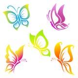 Piękny motyli ikona set Obrazy Royalty Free